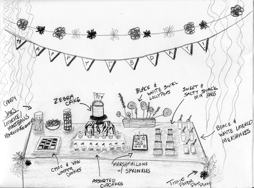 Zebra Party Table Sketch Take black and white crepe streamers and string